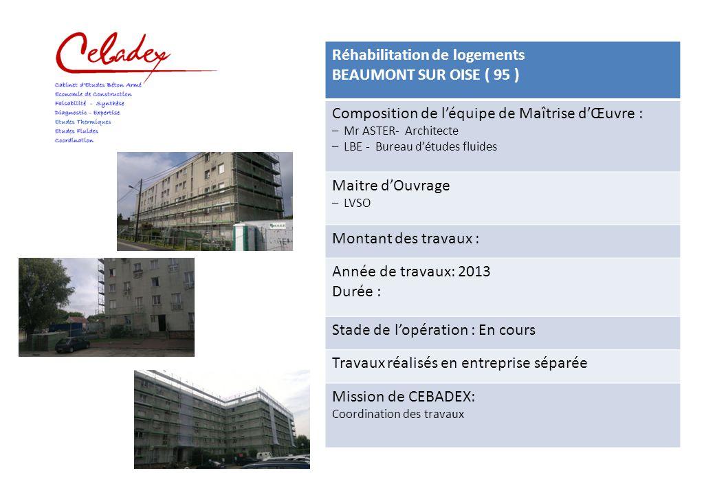 Réhabilitation de logements BEAUMONT SUR OISE ( 95 )