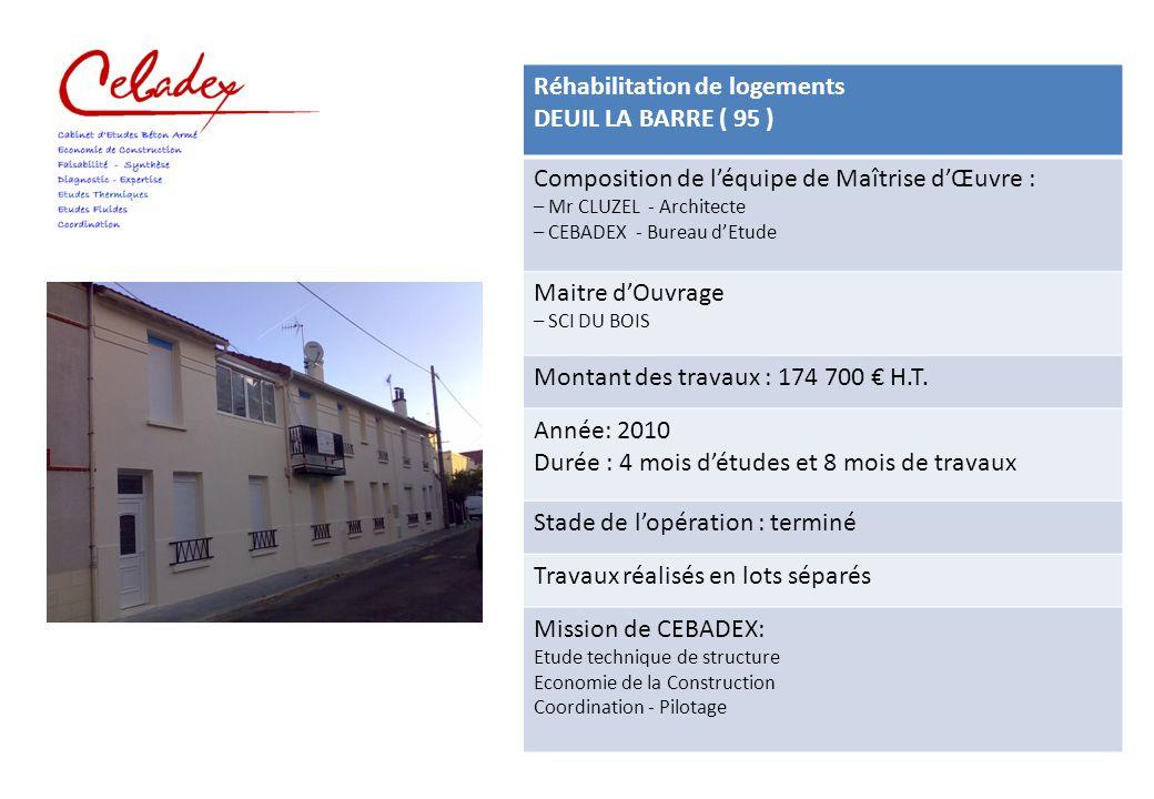Réhabilitation de logements DEUIL LA BARRE ( 95 )
