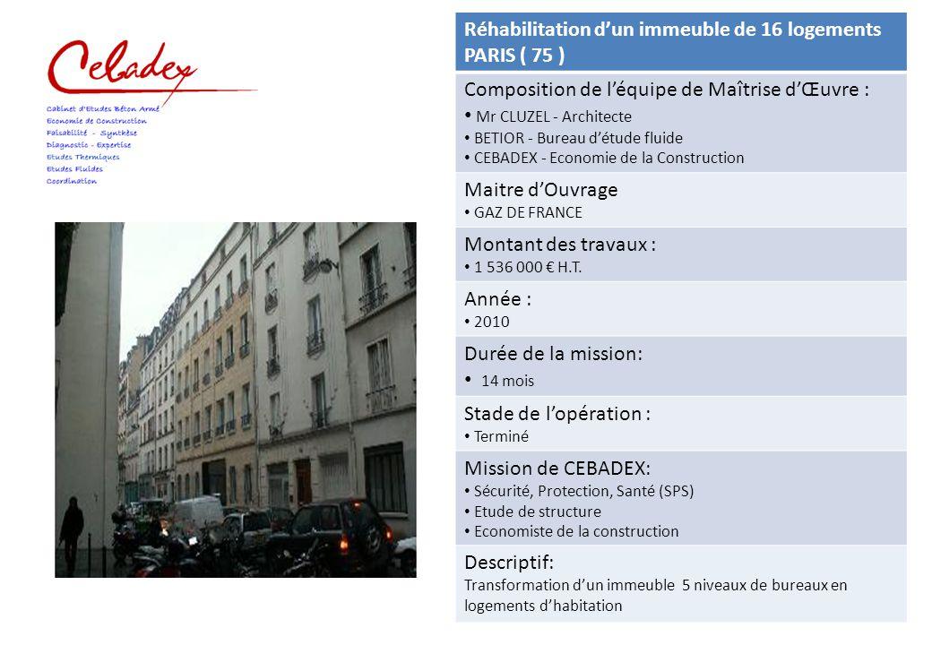 Réhabilitation d'un immeuble de 16 logements PARIS ( 75 )