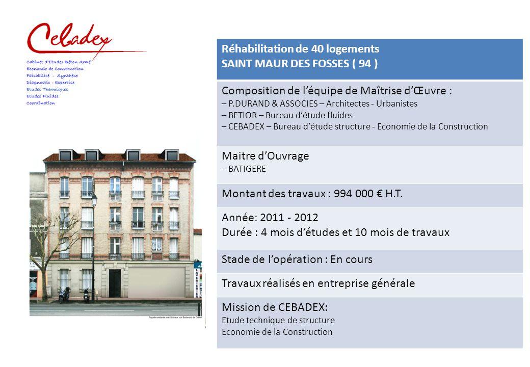 Réhabilitation de 40 logements SAINT MAUR DES FOSSES ( 94 )