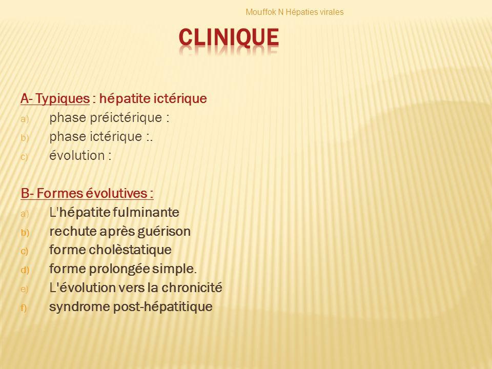 CLINIQUE A- Typiques : hépatite ictérique phase préictérique :