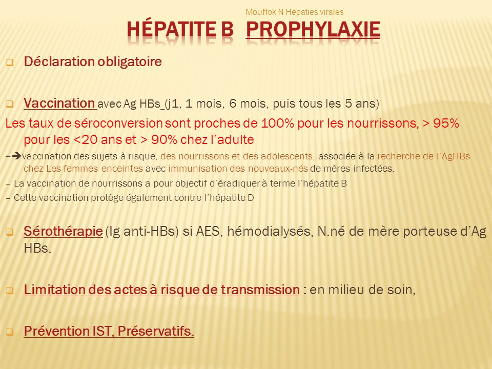 Hépatite B Prophylaxie