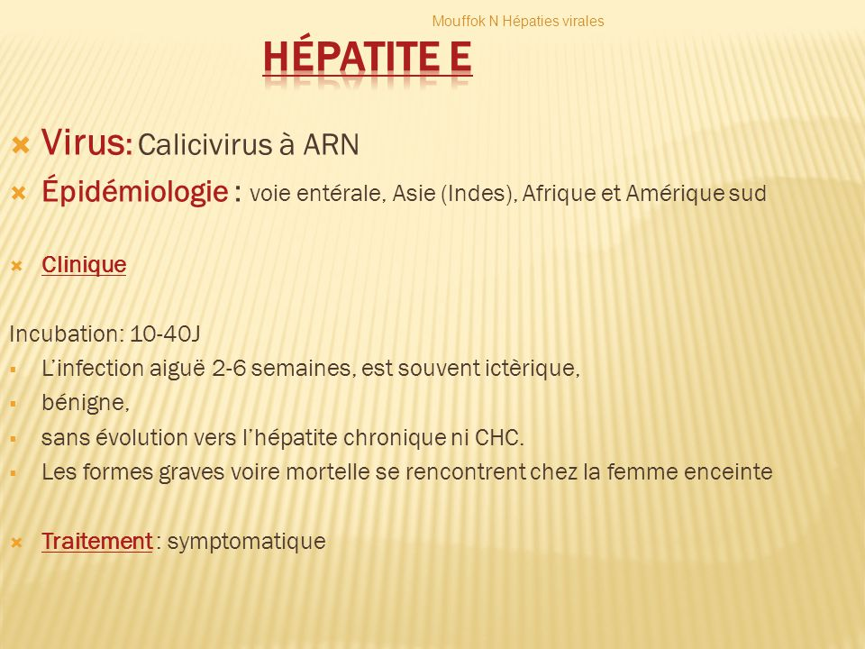 Hépatite E Virus: Calicivirus à ARN