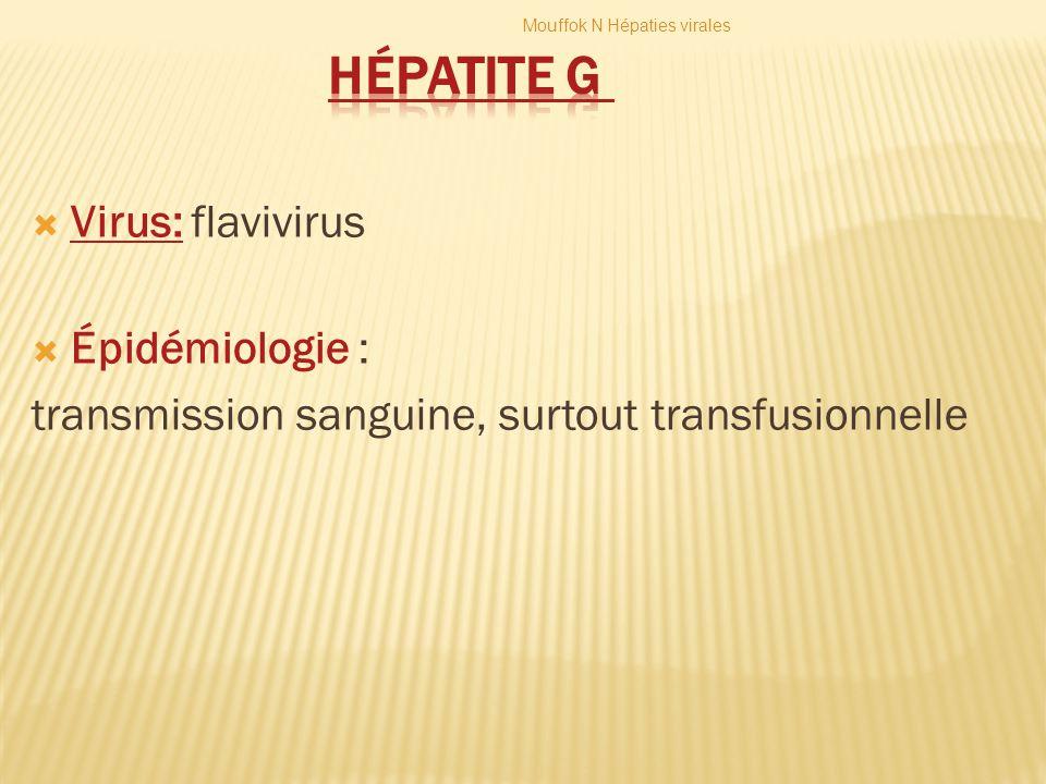 Hépatite G Virus: flavivirus Épidémiologie :
