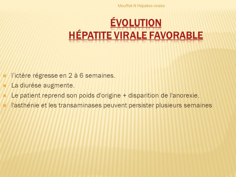 Évolution hépatite virale favorable