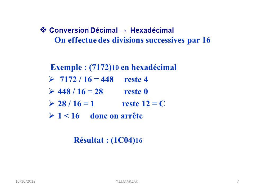  Conversion Décimal → Hexadécimal