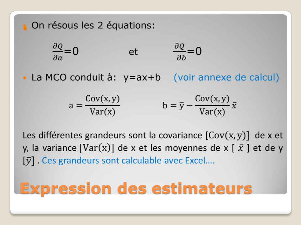 Expression des estimateurs