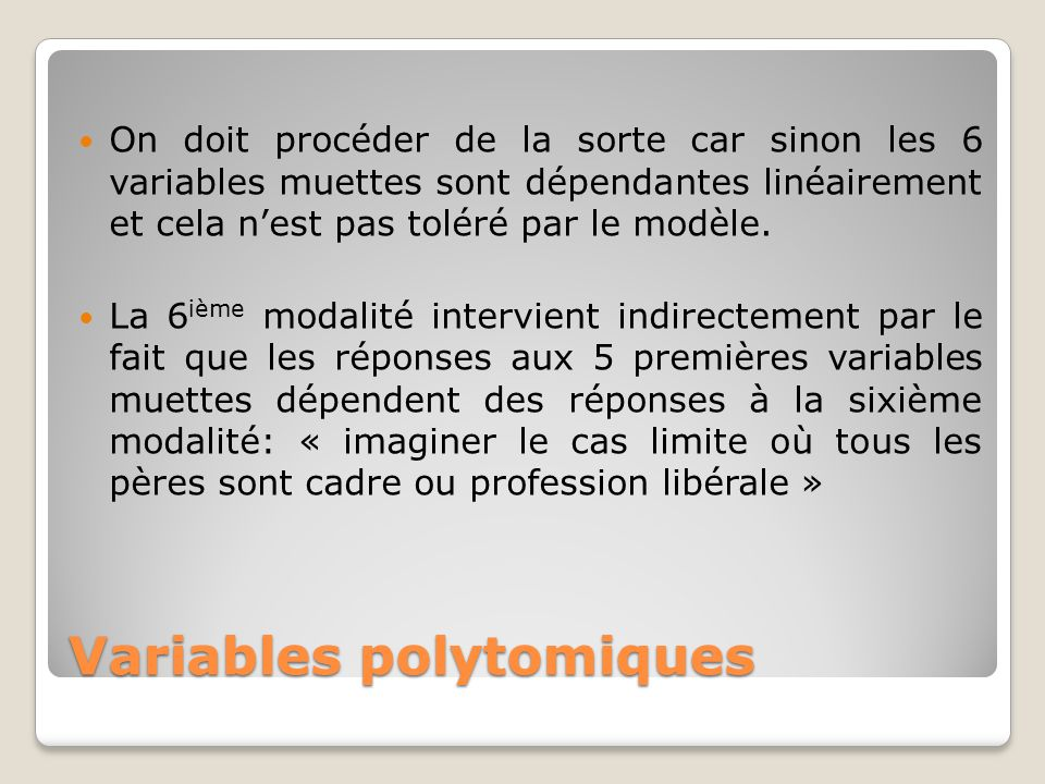Variables polytomiques