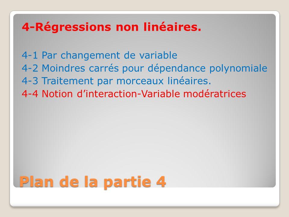 Plan de la partie 4 4-Régressions non linéaires.