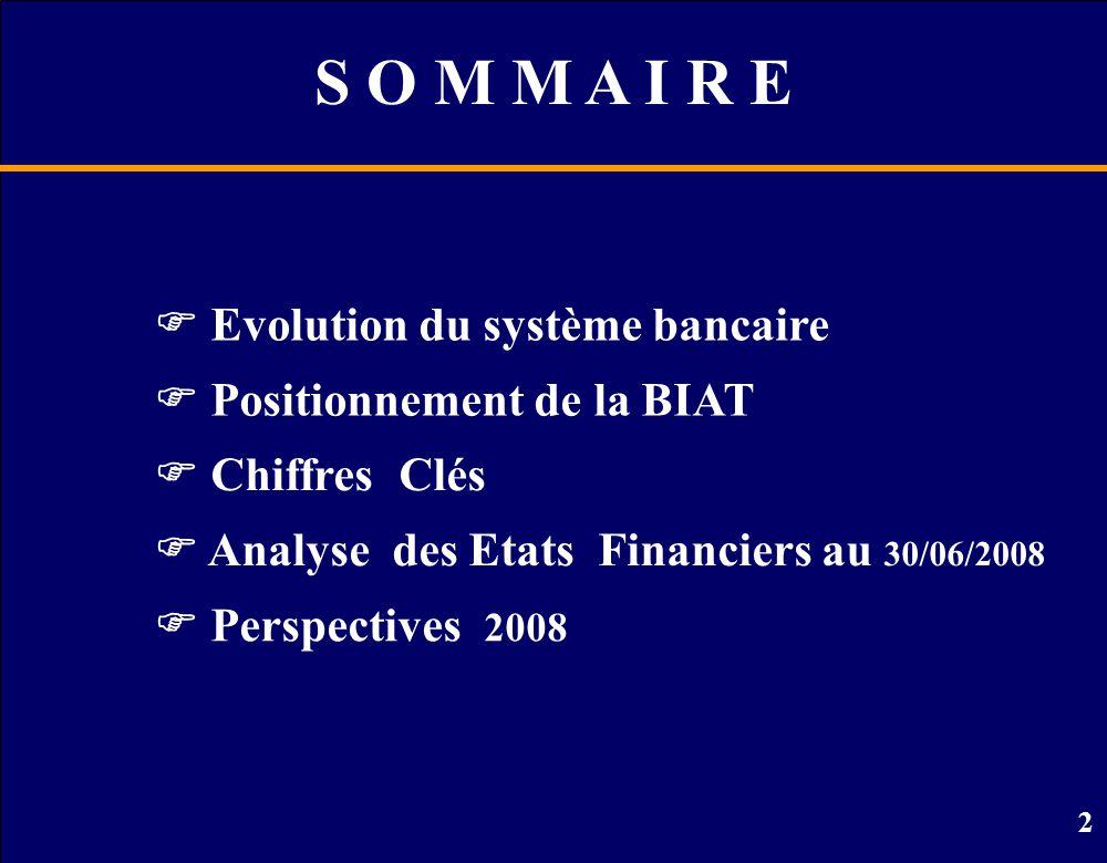 S O M M A I R E  Evolution du système bancaire