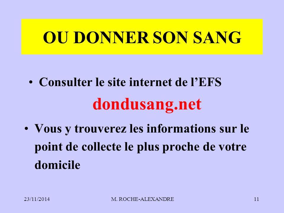 Consulter le site internet de l'EFS dondusang.net