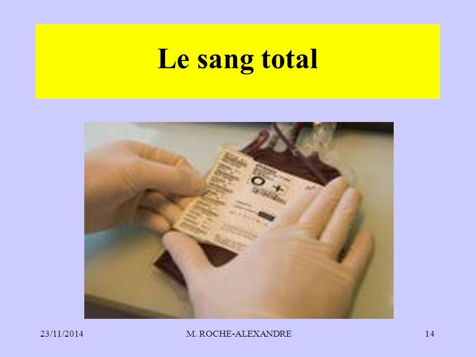 Le sang total 07/04/2017 M. ROCHE-ALEXANDRE