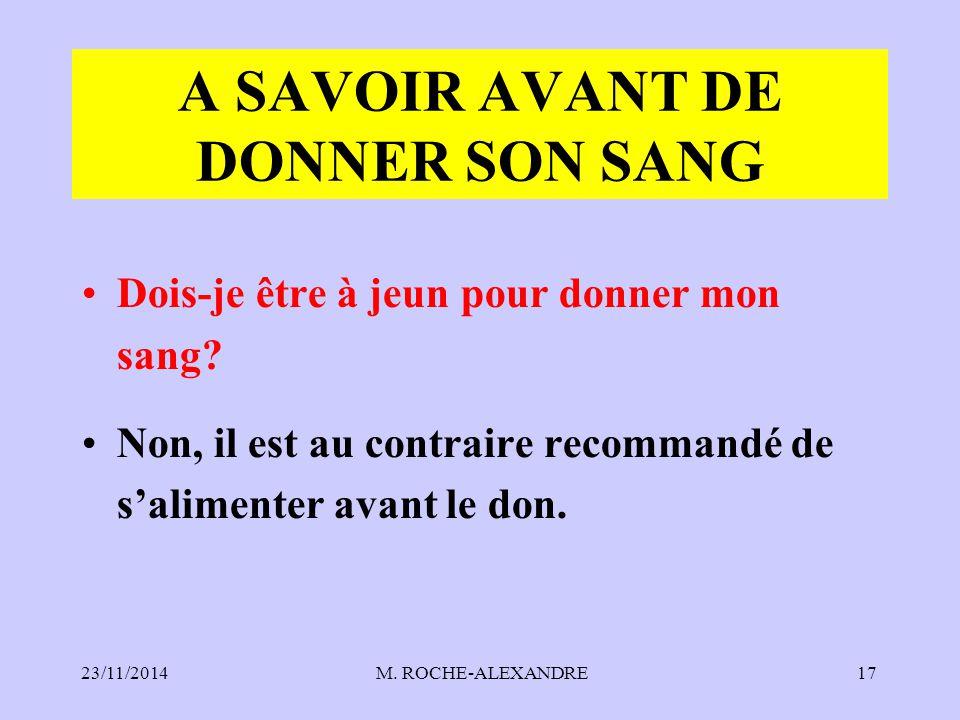 A SAVOIR AVANT DE DONNER SON SANG