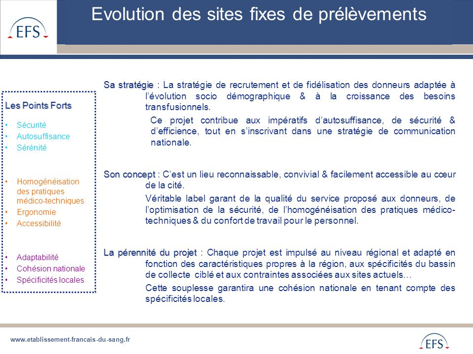 Evolution des sites fixes de prélèvements