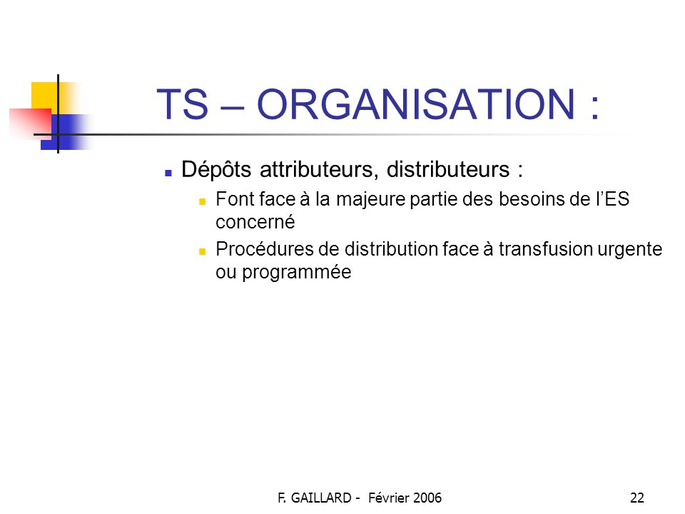 TS – ORGANISATION : Dépôts attributeurs, distributeurs :