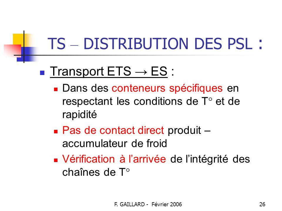 TS – DISTRIBUTION DES PSL :