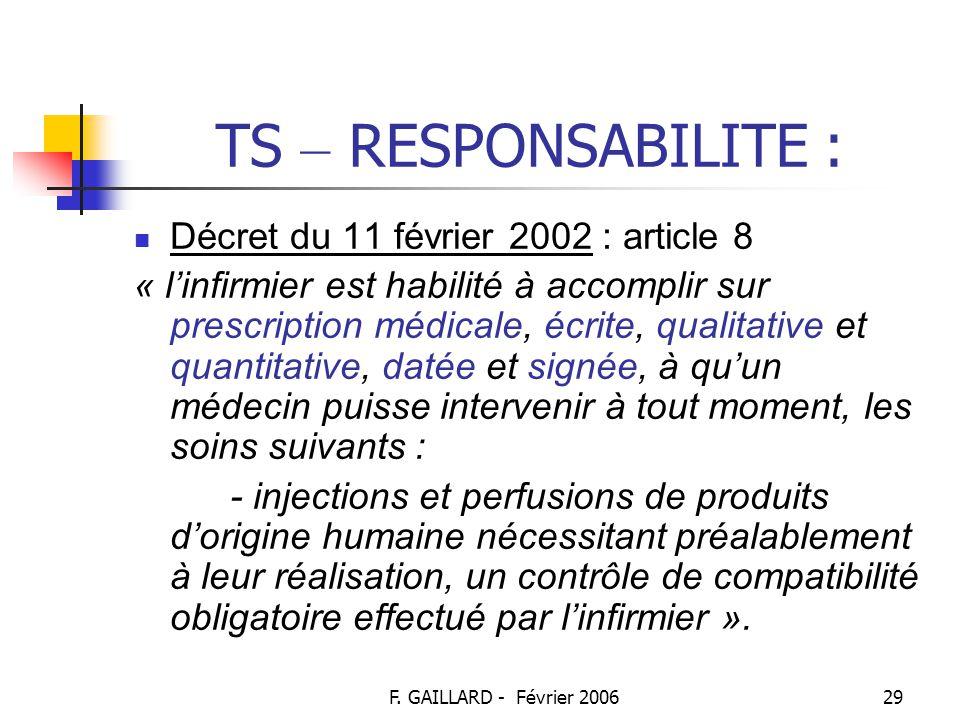 TS – RESPONSABILITE : Décret du 11 février 2002 : article 8
