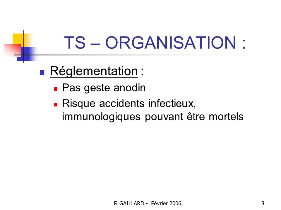 TS – ORGANISATION : Réglementation : Pas geste anodin