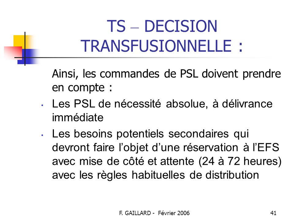 TS – DECISION TRANSFUSIONNELLE :