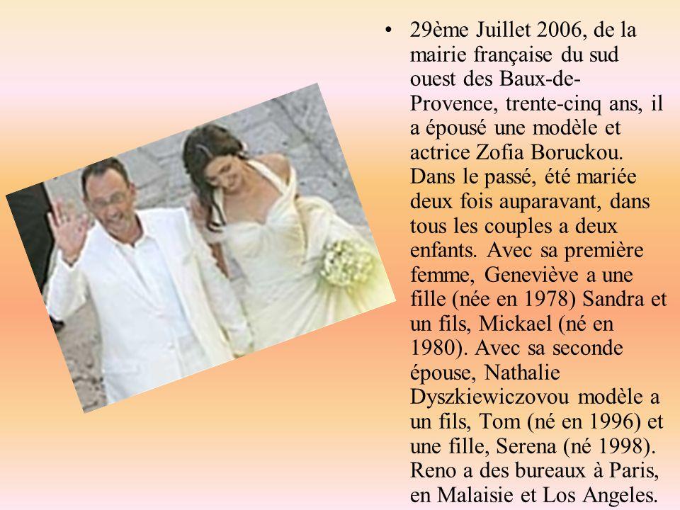 29ème Juillet 2006, de la mairie française du sud ouest des Baux-de-Provence, trente-cinq ans, il a épousé une modèle et actrice Zofia Boruckou.