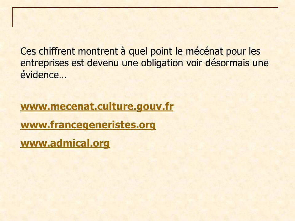 www.mecenat.culture.gouv.fr www.francegeneristes.org www.admical.org