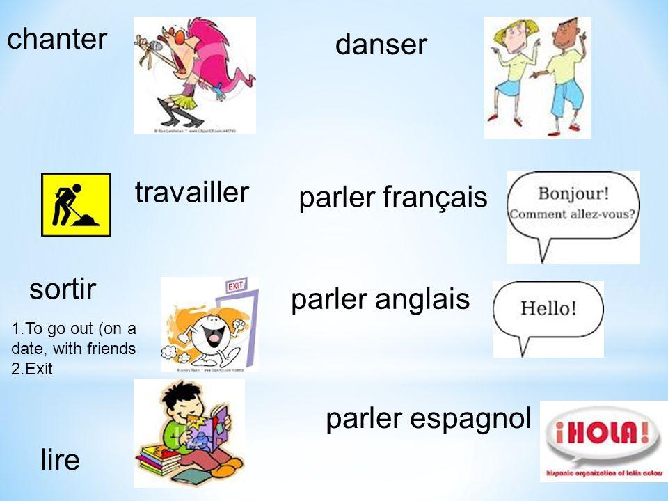 chanter danser travailler parler français sortir parler anglais
