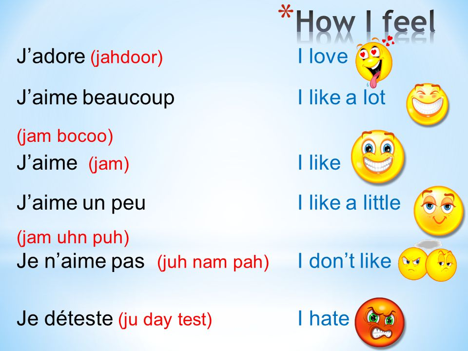 How I feel J'adore (jahdoor) I love J'aime beaucoup I like a lot