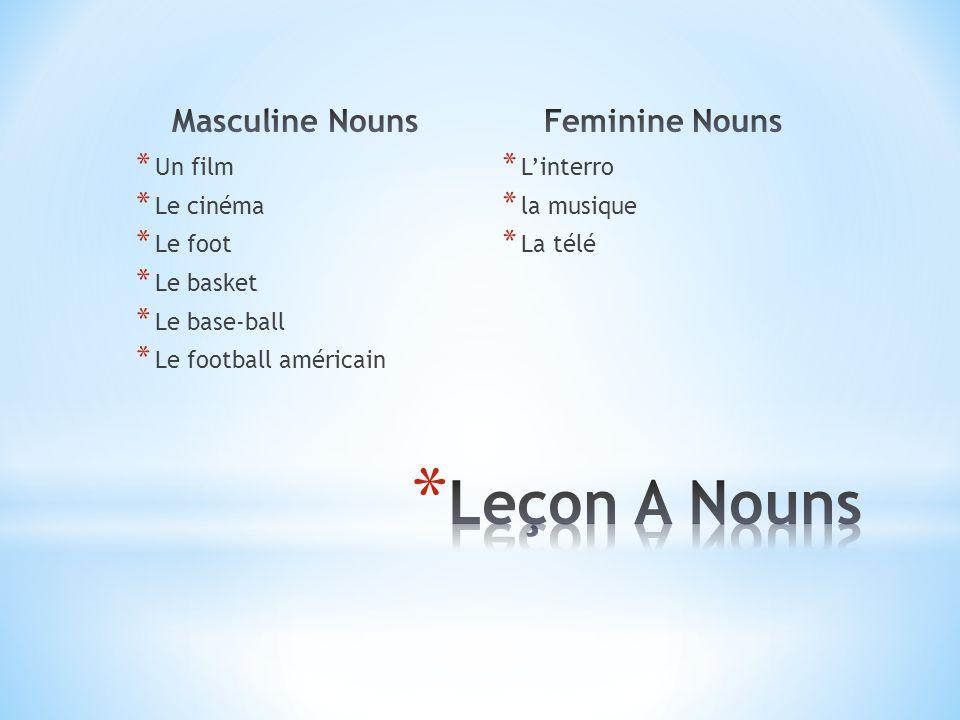 Leçon A Nouns Masculine Nouns Feminine Nouns Un film Le cinéma Le foot