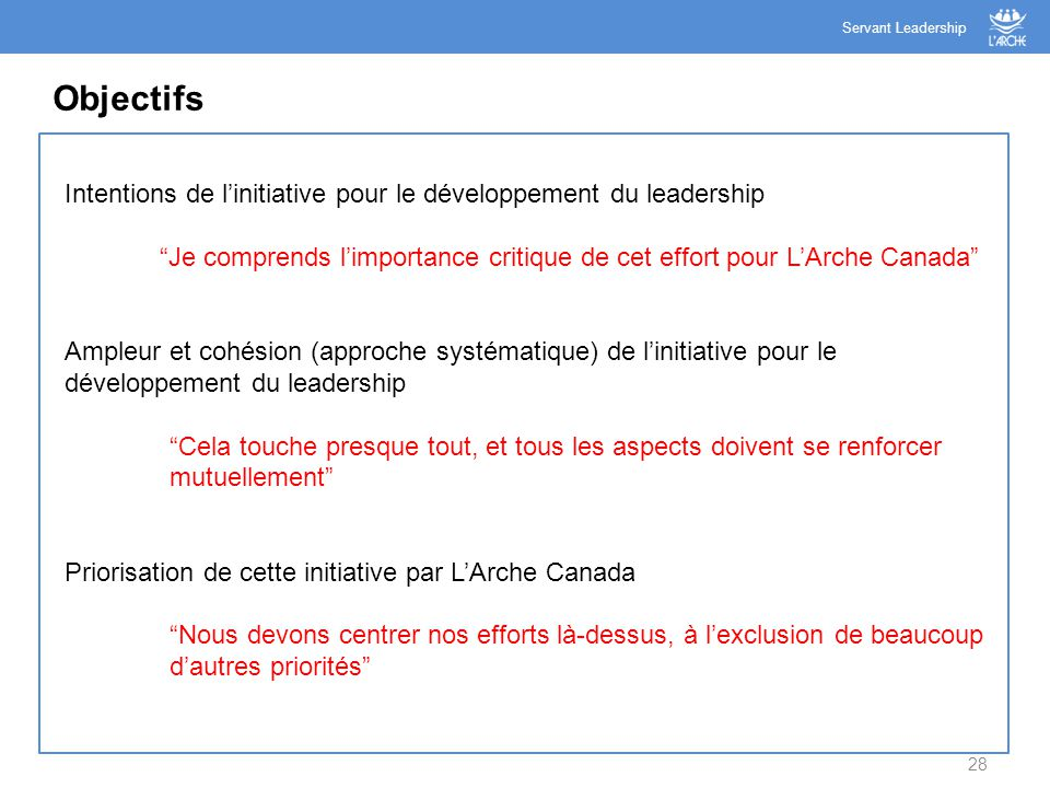 Servant Leadership Objectifs. Intentions de l'initiative pour le développement du leadership.