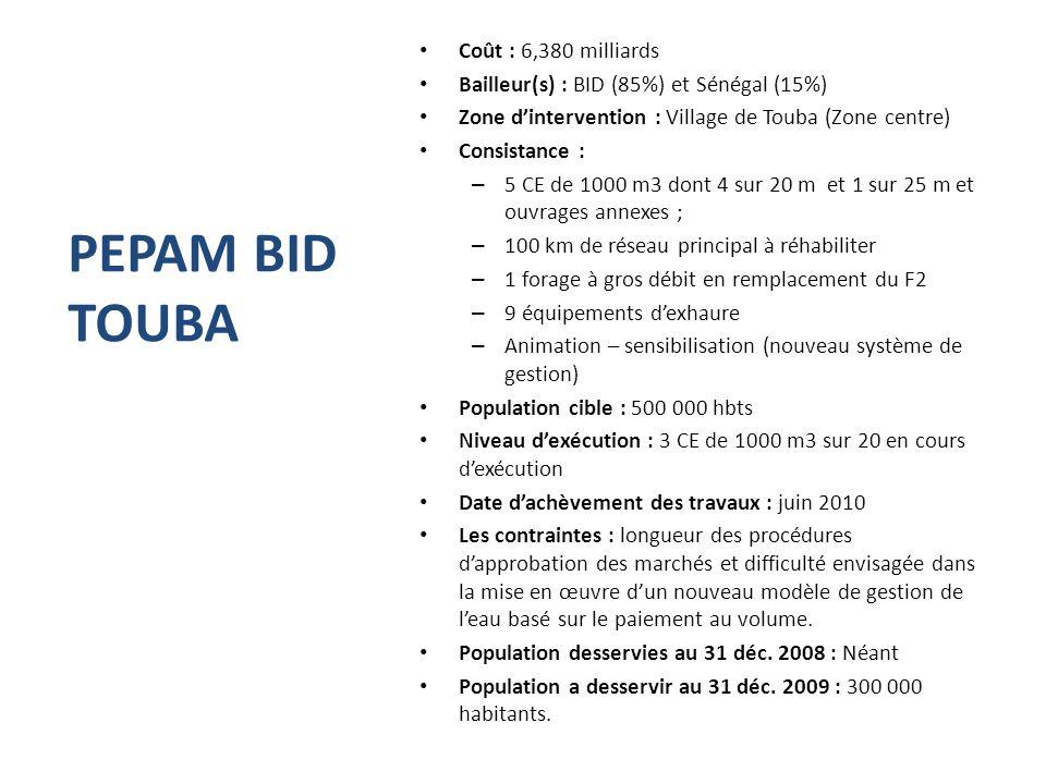 PEPAM BID TOUBA Coût : 6,380 milliards