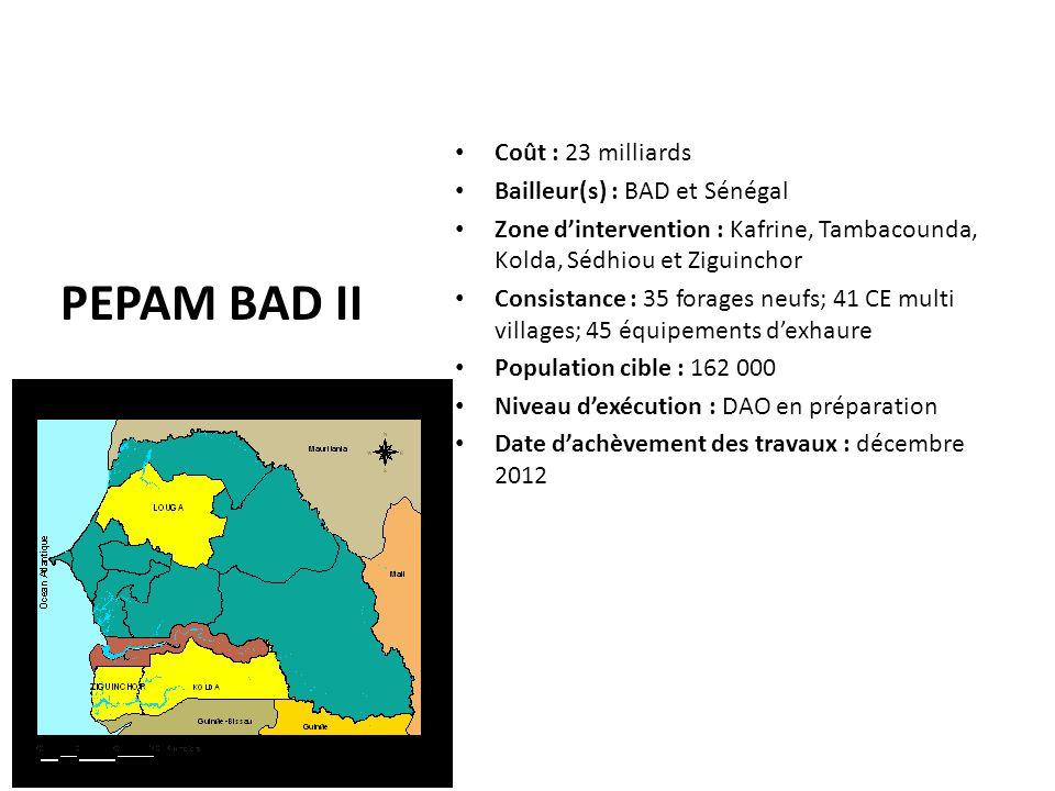 PEPAM BAD II Coût : 23 milliards Bailleur(s) : BAD et Sénégal