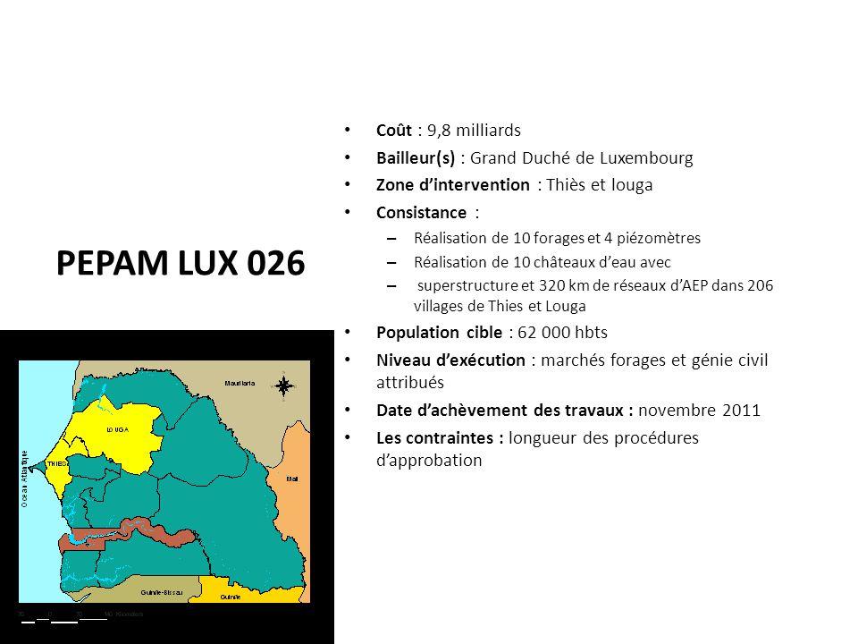 PEPAM LUX 026 Coût : 9,8 milliards