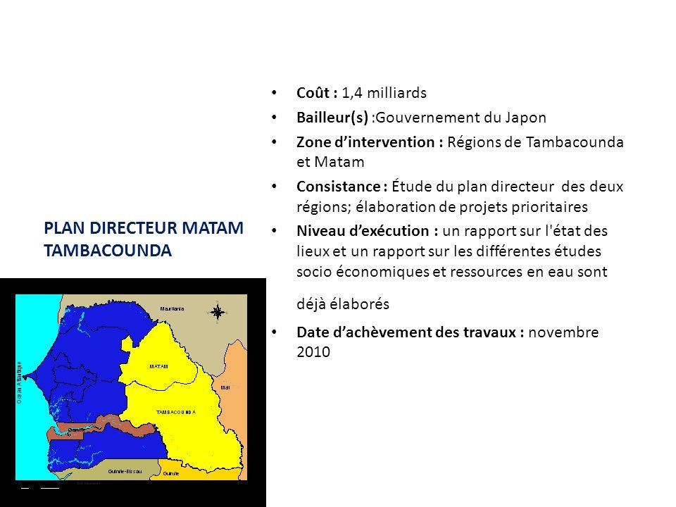 PLAN DIRECTEUR MATAM TAMBACOUNDA