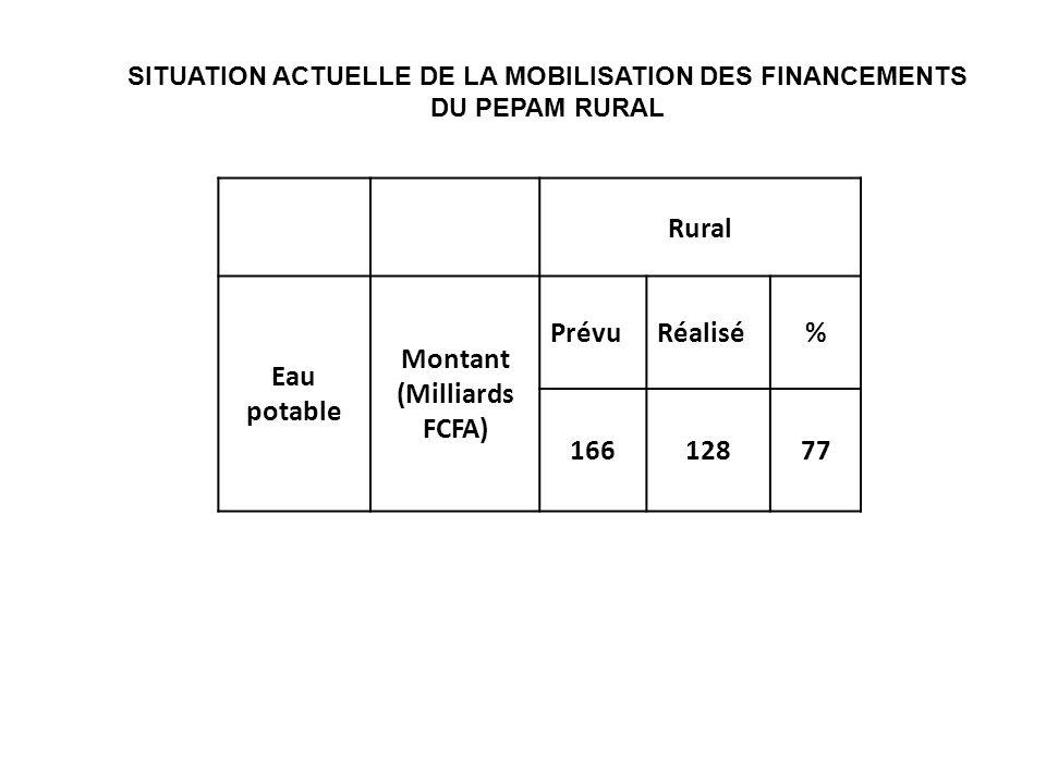 SITUATION ACTUELLE DE LA MOBILISATION DES FINANCEMENTS DU PEPAM RURAL