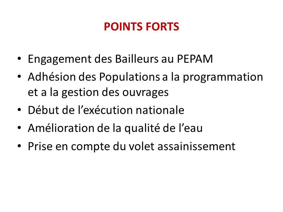POINTS FORTS Engagement des Bailleurs au PEPAM. Adhésion des Populations a la programmation et a la gestion des ouvrages.