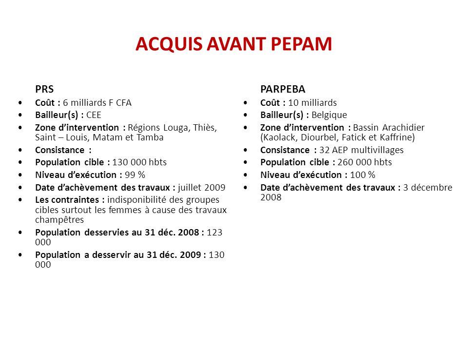 ACQUIS AVANT PEPAM PRS Coût : 6 milliards F CFA Bailleur(s) : CEE
