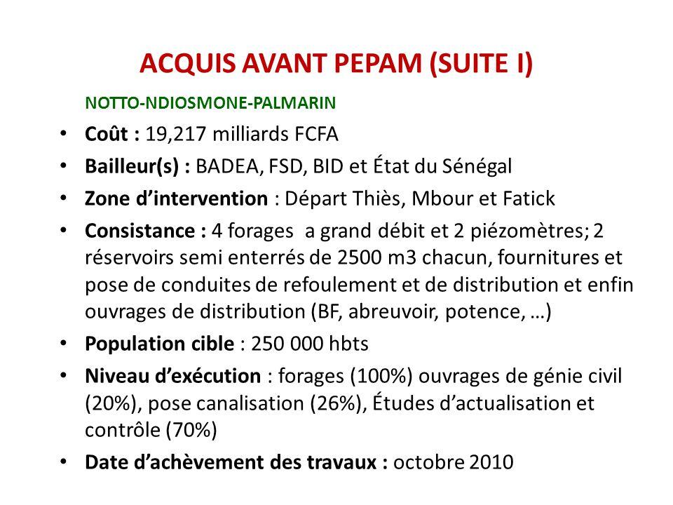 ACQUIS AVANT PEPAM (SUITE I)