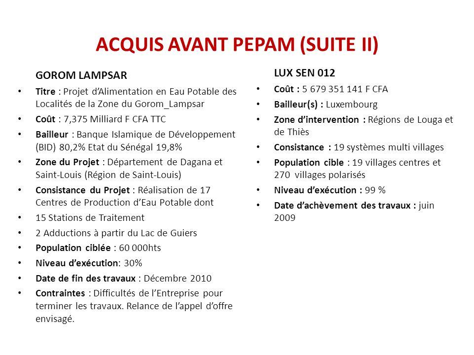 ACQUIS AVANT PEPAM (SUITE II)