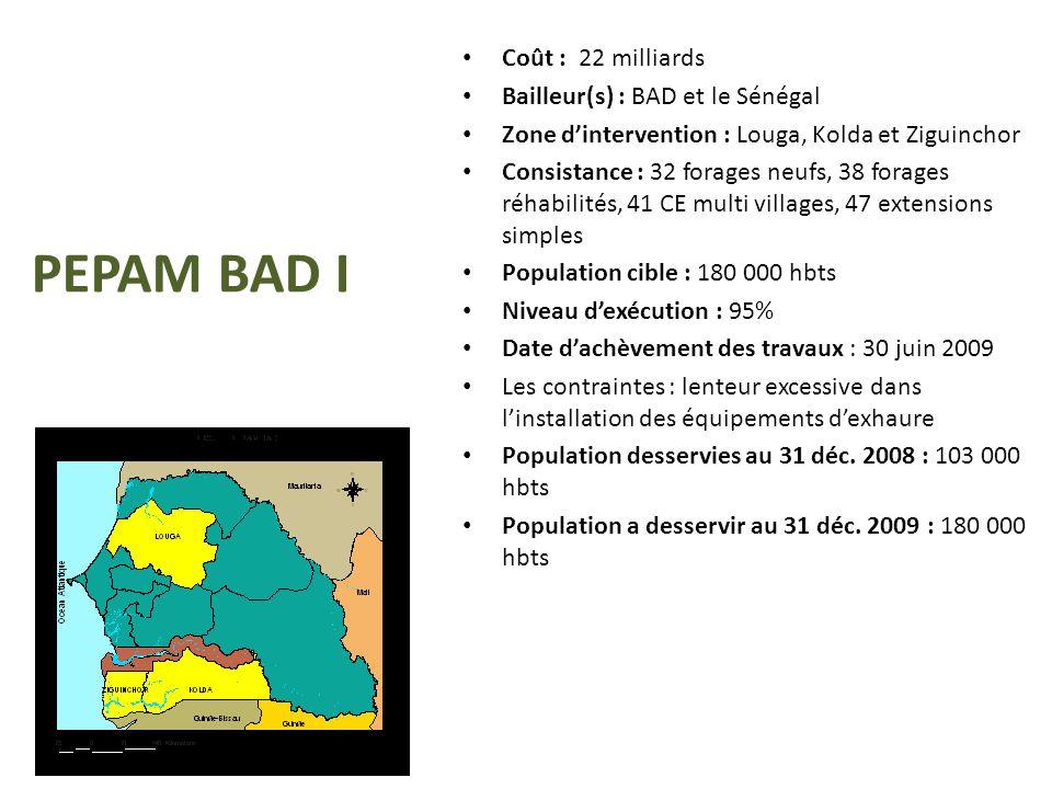 PEPAM BAD I Coût : 22 milliards Bailleur(s) : BAD et le Sénégal