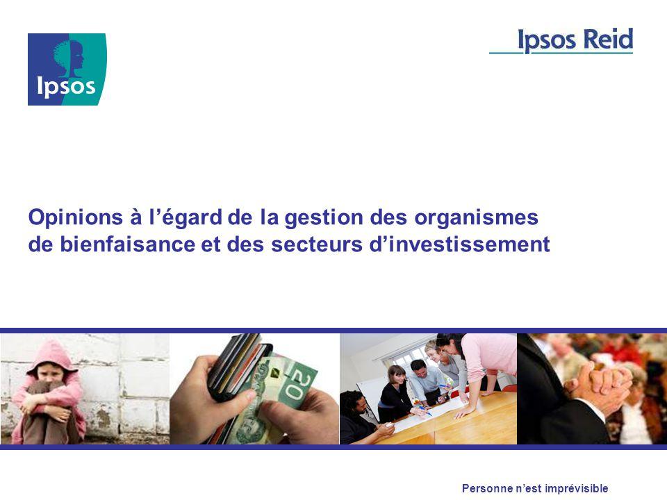 Opinions à l'égard de la gestion des organismes de bienfaisance et des secteurs d'investissement