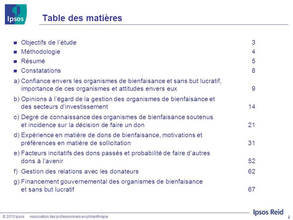 Table des matières Objectifs de l'étude 3 Méthodologie 4 Résumé 5