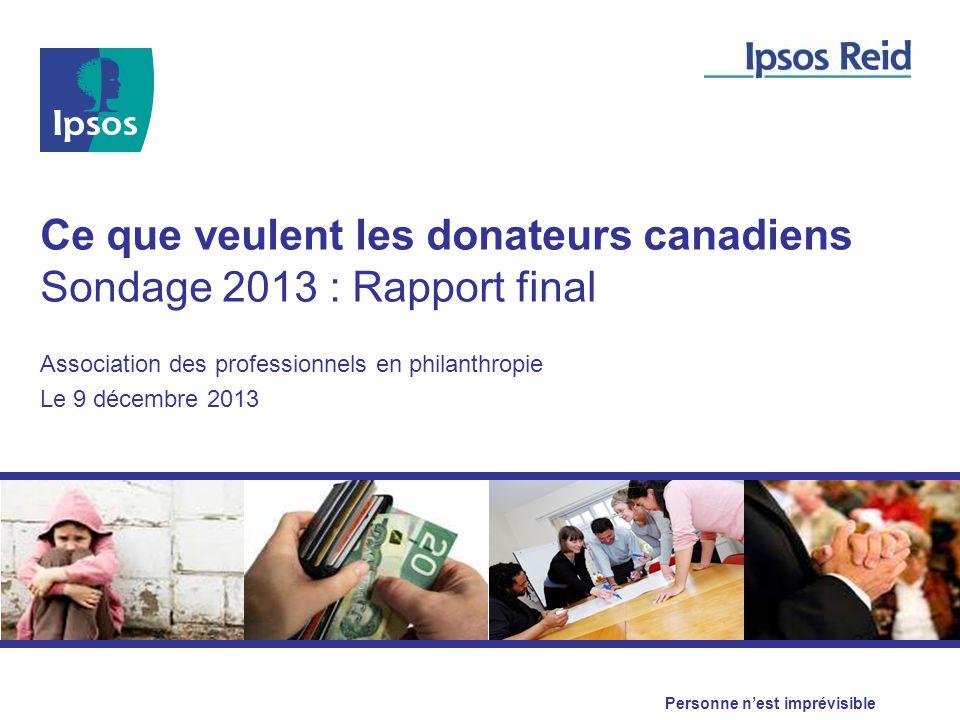 Ce que veulent les donateurs canadiens Sondage 2013 : Rapport final