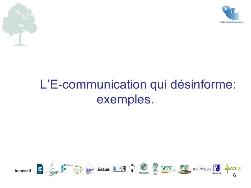 L'E-communication qui désinforme: exemples.