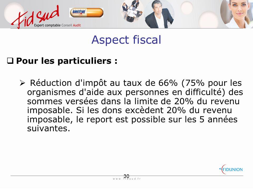 Aspect fiscal Pour les particuliers :