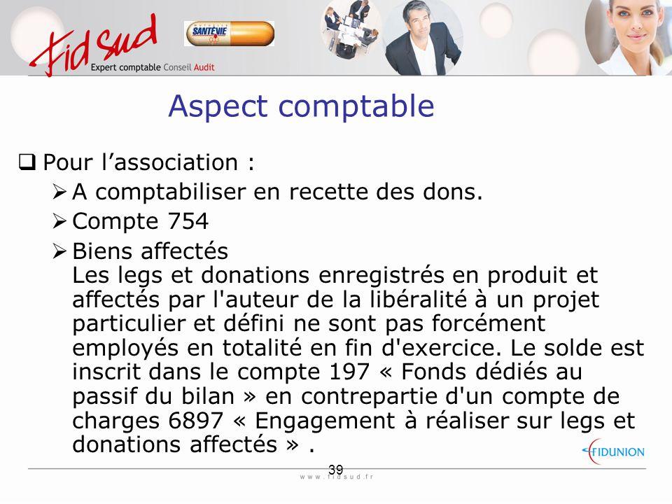 Aspect comptable Pour l'association :