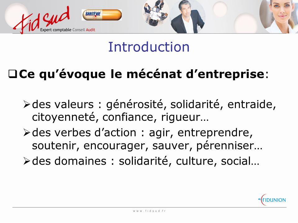 Introduction Ce qu'évoque le mécénat d'entreprise: