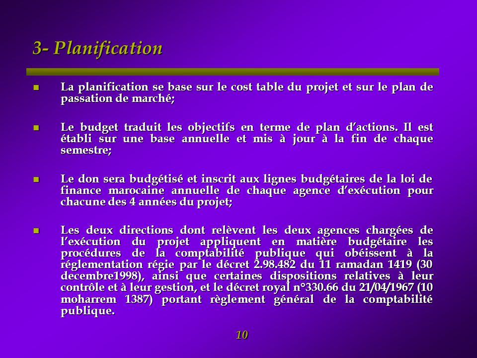 3- Planification La planification se base sur le cost table du projet et sur le plan de passation de marché;