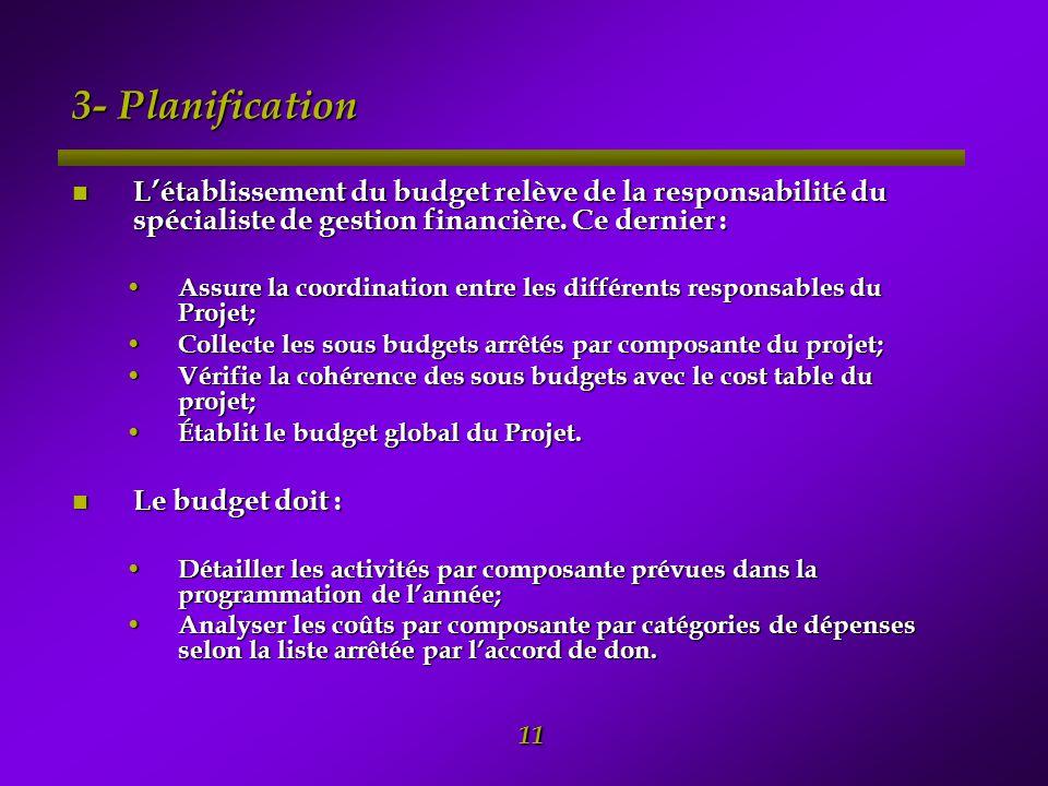 3- Planification L'établissement du budget relève de la responsabilité du spécialiste de gestion financière. Ce dernier :