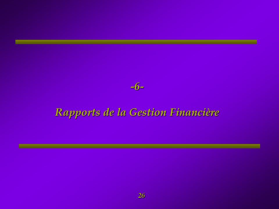 -6- Rapports de la Gestion Financière