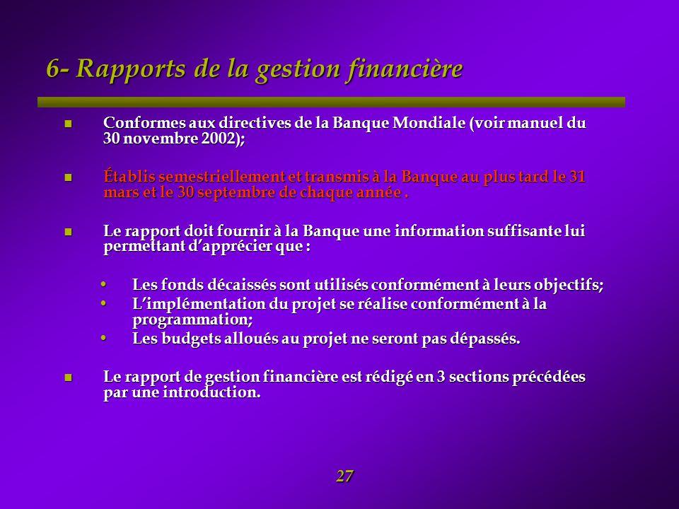 6- Rapports de la gestion financière